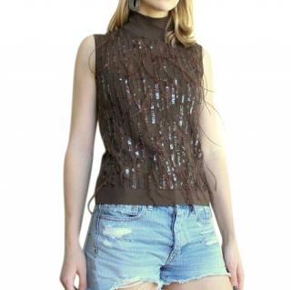 Escada Brown Wool Feather Sequins Sleeveless Top