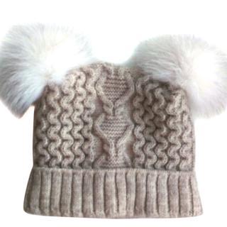 Russian fur pom pom hat with white fox fur