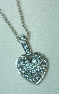Tiffany and Co. Platinum Heart Pave Diamond Pendant Necklace 0.35 CT