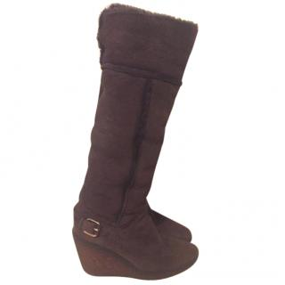 Celine brown shearling lined boots