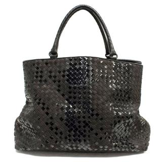 Bottega Veneta Brown Suede and Patent Leather Bag