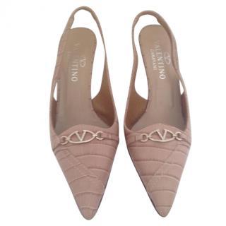 Valentino sling back pointed monogram nude heels