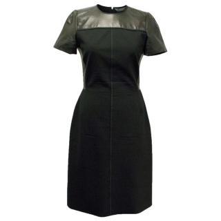 Reed Krakoff Black Partial Leather Short Sleeve Dress