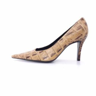 Escada Brown Beige Embossed Crocodile Leather Pointed Shoes