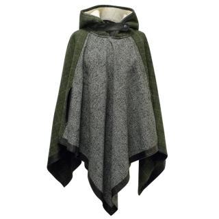 Rag & Bone Green and Grey Hooded Poncho