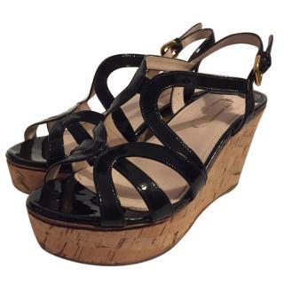 Prada Black Leather Wedge Sandals