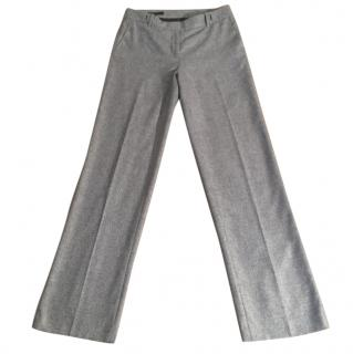 Loro Piana cashmere silk blend pale grey straight leg trousers