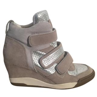 Ash 'Alex Bis' suede stone & silver hidden wedge sneakers