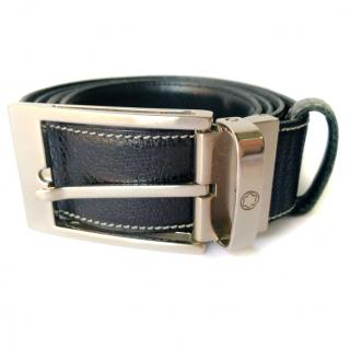 Mont Blanc Reversible Black Dark Brown Leather Silver Buckle Mens Belt