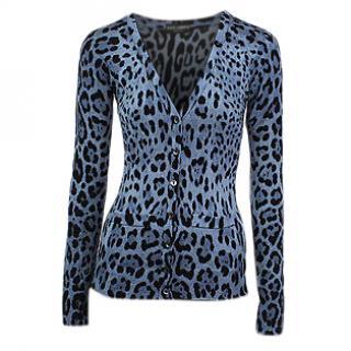 Dolce&Gabbana blue leopard print wool cardigan