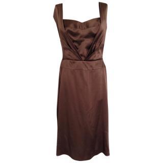 Alberta Ferretti open back brown silk mid length gown