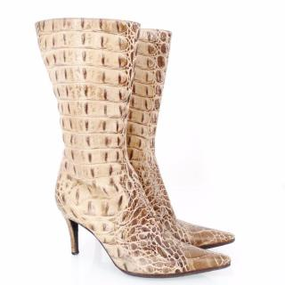 Escada Beige Brown Embossed Crocodile Leather Boots