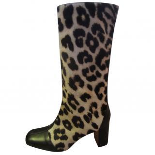 Celine Pony Skin Calf Length Boots