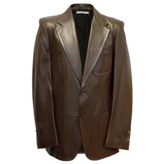 Yves Saint Laurent Brown Leather Blazer