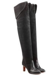 Chloe Suede & Leather Over-The-Knee/thigh-high boots with lace-up detail in darky grey