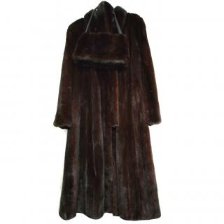 Mink Coat with Pouch and Belt to Match
