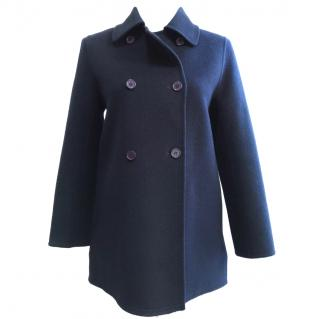 Paul & Joe Blue Wool Angora Pea Coat