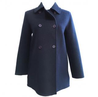 Paul & Joe Blue Wool Angora Pea Coat