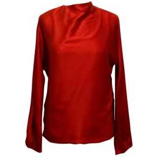 Celine Red Silk Top