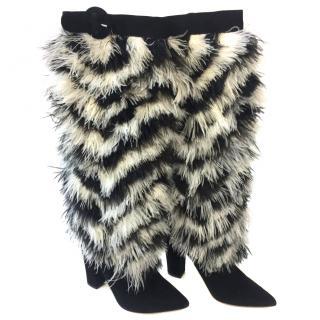 Nicholas Kirkwood Feather embellished suede boots