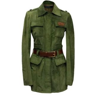 Gucci Green Suede Belted Jacket