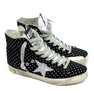 Golden Goose Black Glitter High Top Sneakers