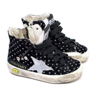 Golden Goose Girl's Black Glitter High Top Sneakers