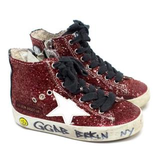 Golden Goose Girl's Glittery High-Top Sneaker