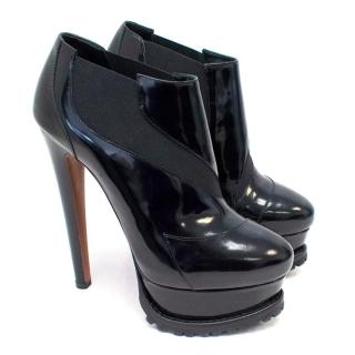 Alaia Platform Black Polished Leather Boots
