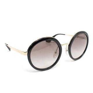 Prada Black Round Tinted Sunglasses