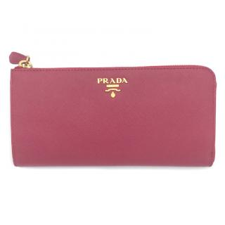 Prada red leather zip card wallet