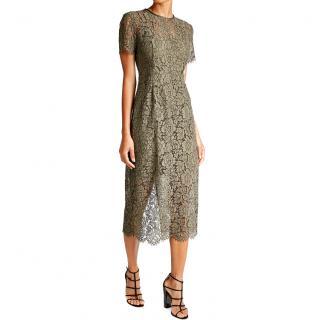 DVF Carly dark green lace midi dress SS17