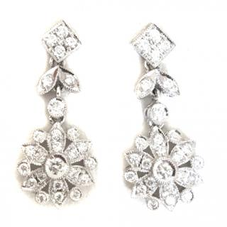 18ct White Gold Diamond Encrusted Earrings