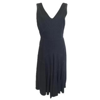 Calvin Klein black wool fullskirt dress