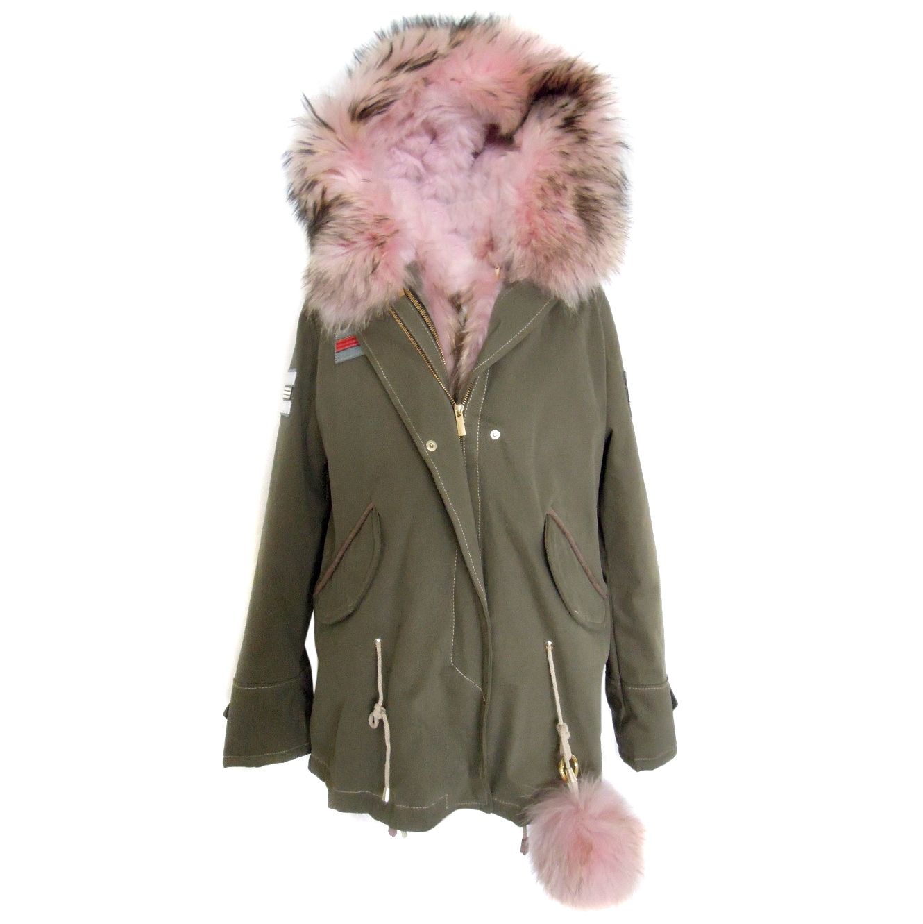 6e550a557da Wild Arctic khaki coat with fox