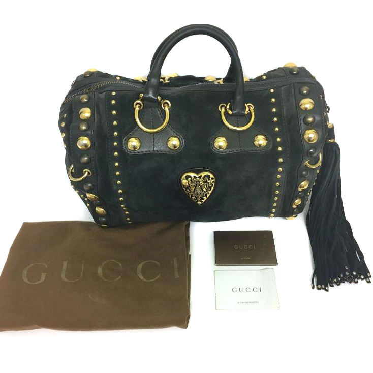 4e67181aa3c Gucci Boston Babouska Suede Leather Large Limited Edition Satchel ...