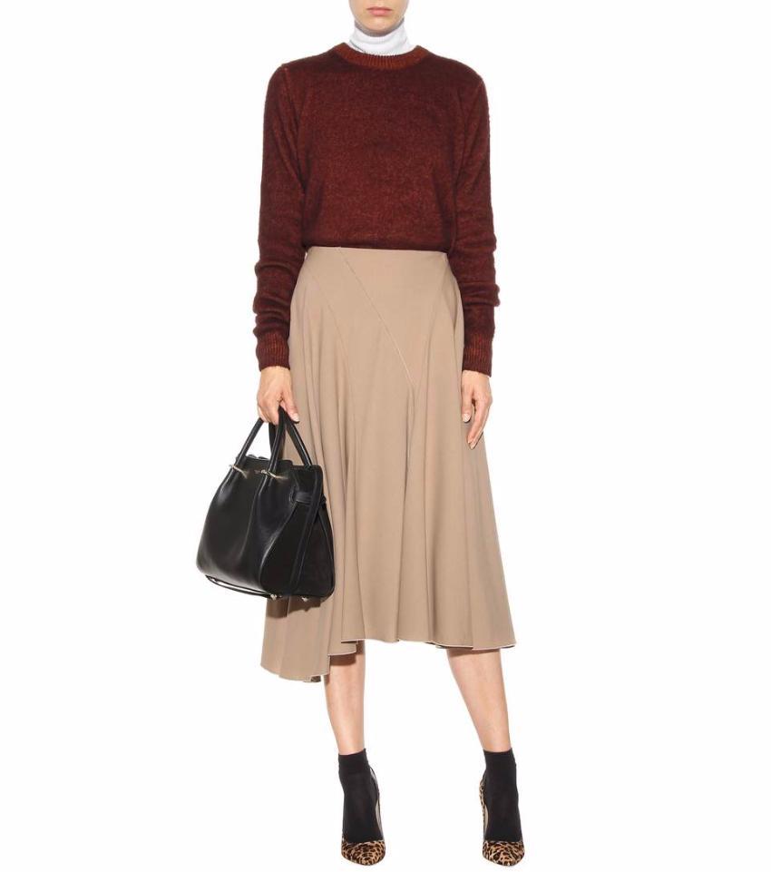 NINA RICCI Pink Wool Blend Long Pleated Skirt