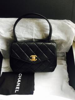 Vintage CHANEL mini black quilted leather tote bag