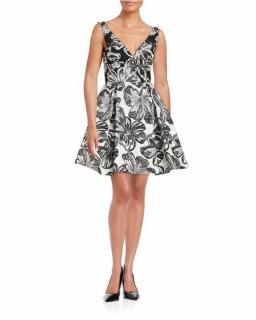 VERA WANG Floral Fit And Flare Dress