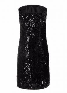 Zadig and Voltaire Sequin strapless black mini dress