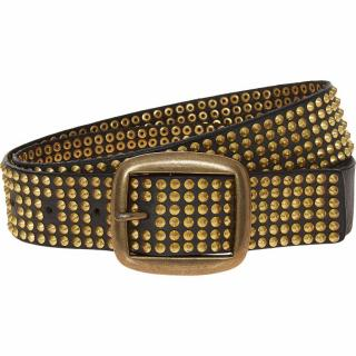 Zadig & Voltaire Wide Black/Gold Studded Leather Belt