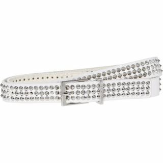 Zadig & Voltaire White Leather Studded Belt