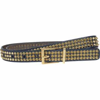 Zadig & Voltaire Blue/Gold Studded Leather Belt