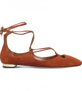 Aquazzura Dancer suede ankle tie Flats shoes 39