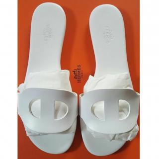 Hermes Lisboa White slippers