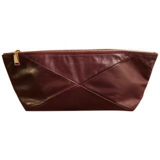Jil Sander large burgundy clutch