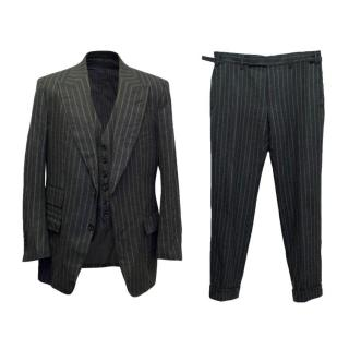 Tom Ford Three Piece Black and Grey Pinstripe Suit