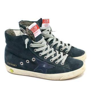 Golden Goose Navy and Cream Fancy High-Tops