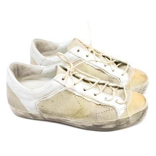 Golden Goose Cream Leather Sneakers