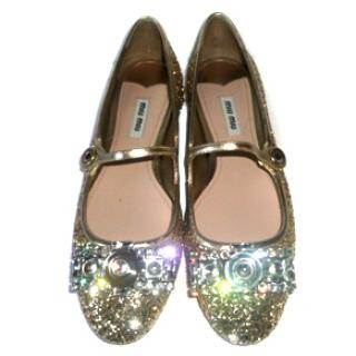Miu Miu Crystal Embellished Mary Jane Flats